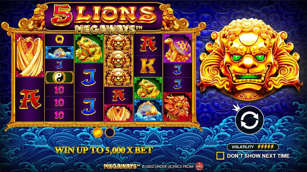5 Lions Megaways Slot - Intro Screen