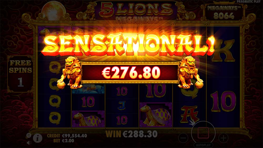 5 Lions Megaways Slot - Sensational Win