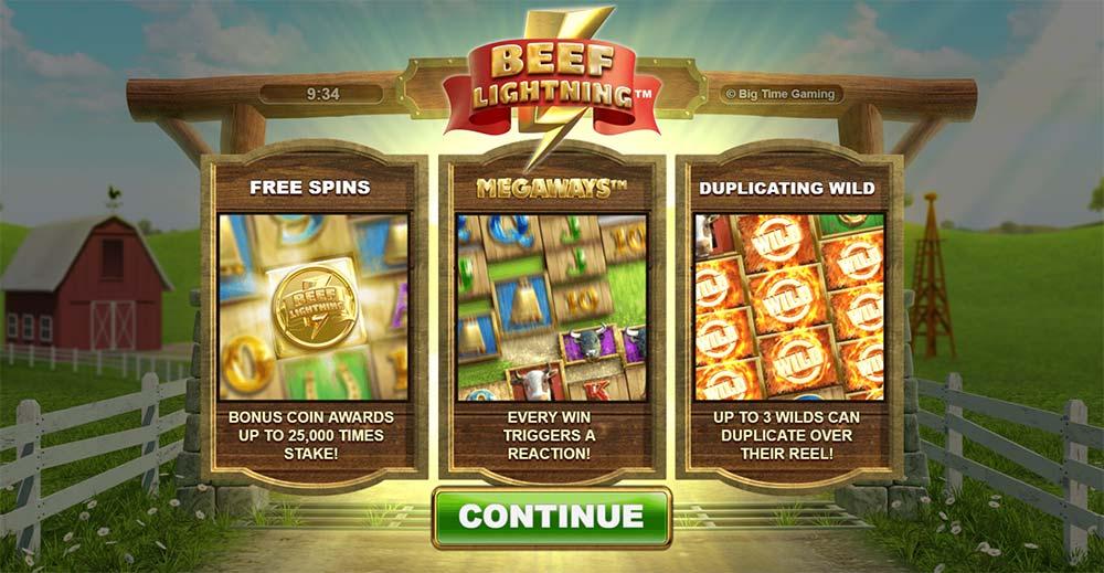 Beef Lightning Megaways Slot - Intro Screen