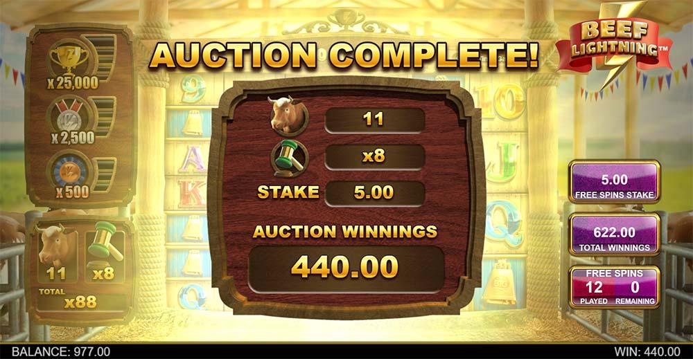 Beef Lightning Megaways Slot - Auction Feature