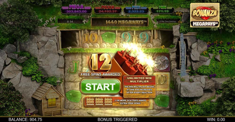 Bonanza Megapays Slot - Bonus Round Start