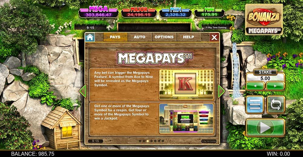 Bonanza Megapays Slot - Megapays Jackpot Feature