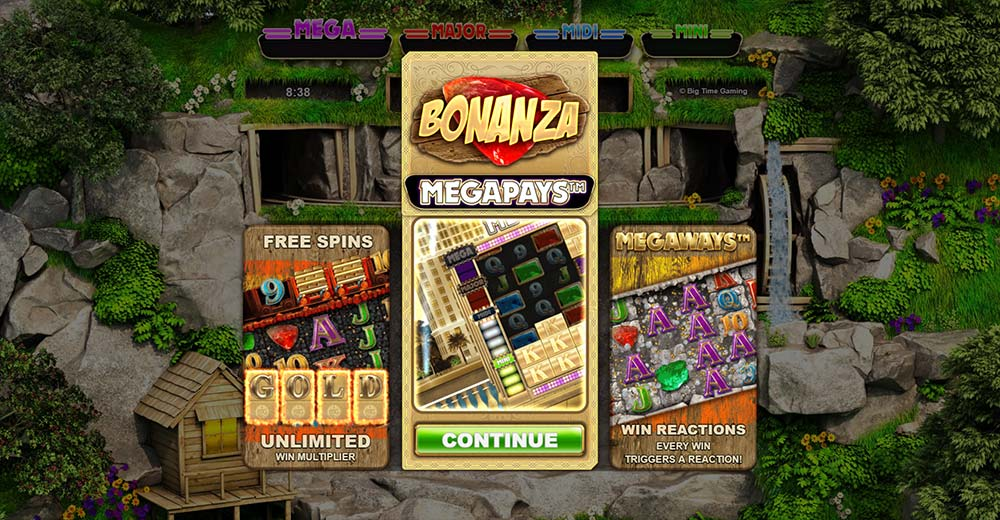 Bonanza Megapays Slot - Intro Screen