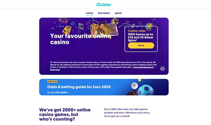 Casumo Casino Home Page 2021