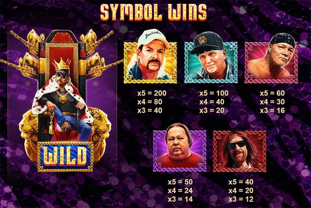 Joe Exotic Slot - Paytable