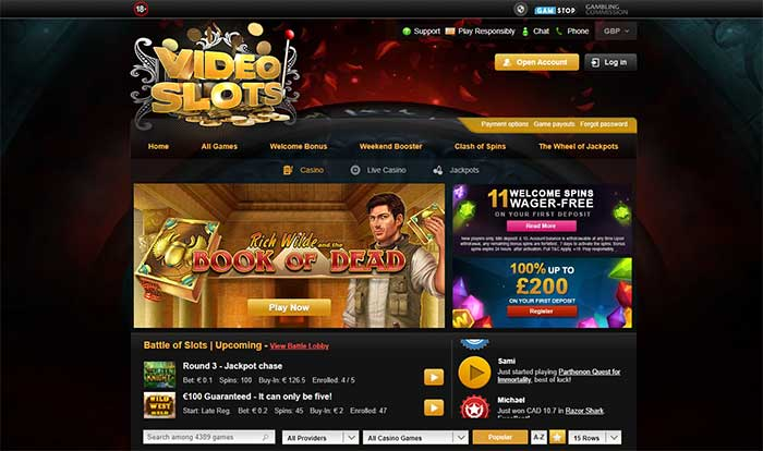 Videoslots Casino Home page 2021