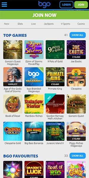 BGO Mobile Casino Slots Section