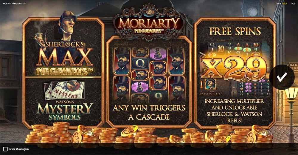 Moriarty Megaways Slot - Intro Screen