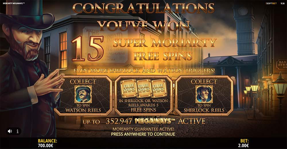 Moriarty Megaways Slot - Bonus Trigger