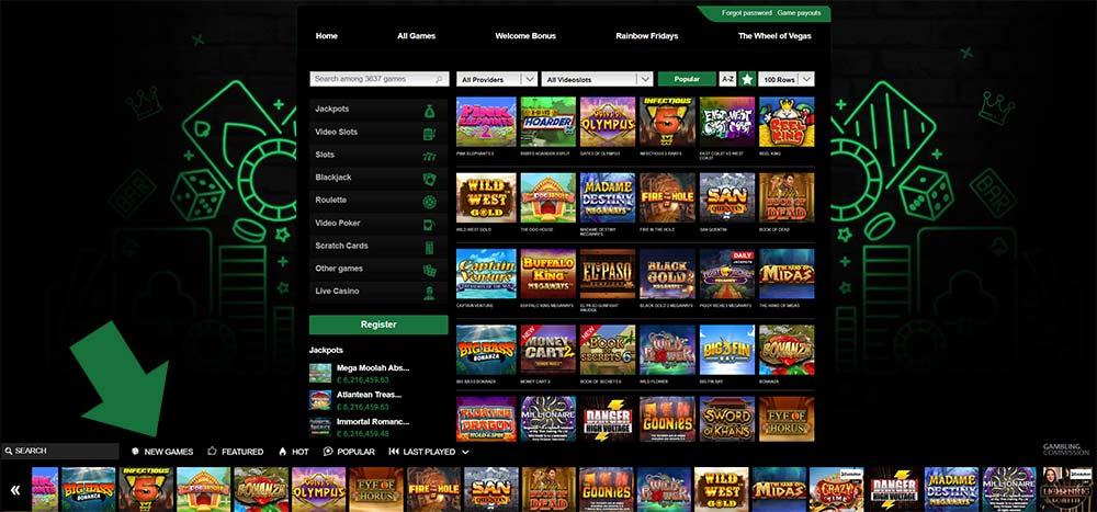 Mr Vegas Casino - Bottom Game Filter