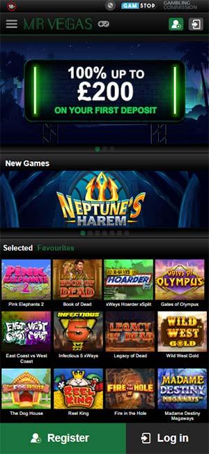 Mr Vegas Casino Mobile Home Page