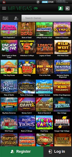 Mr Vegas Casino Mobile Slots Page