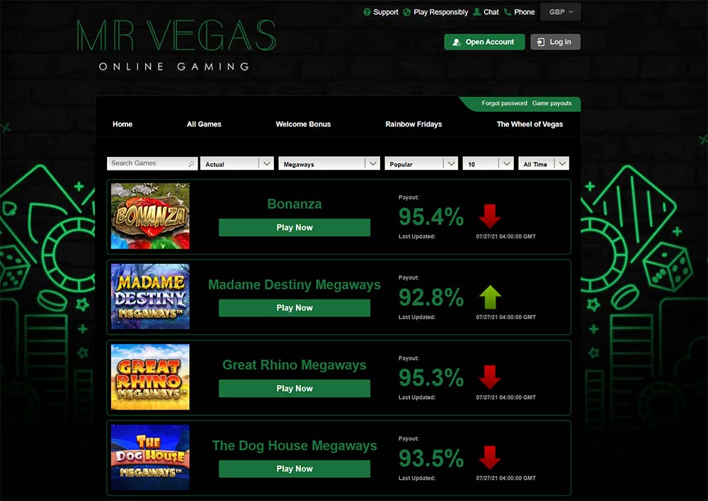 Mr Vegas Casino - Real Slot RTP Figures