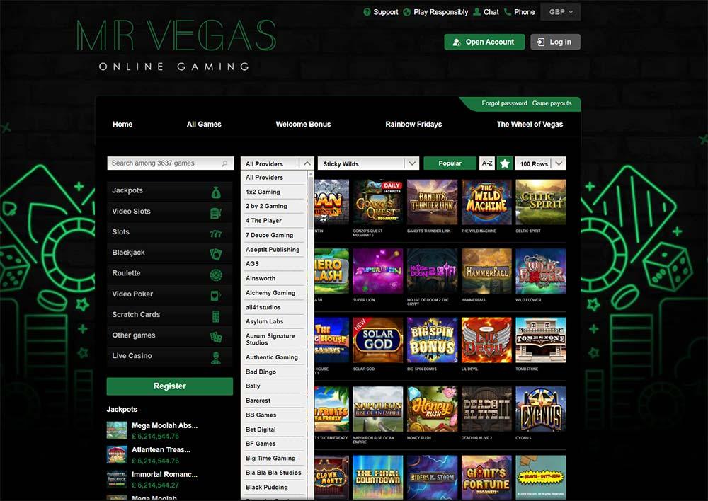 Mr Vegas Casino - Game Provider Filter Options