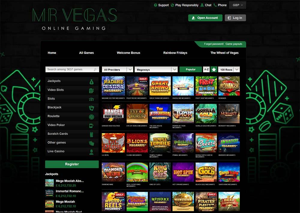 Mr Vegas Casino - Megaways Filtered Slots