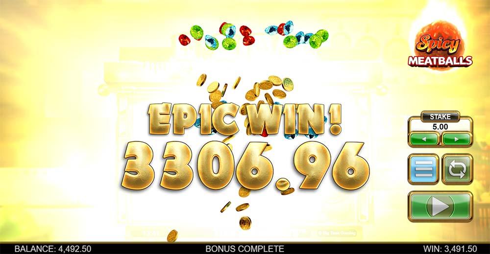 Spicy Meatballs Megaways Slot - Epic Win Animation