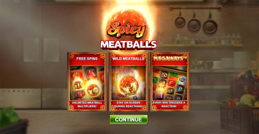 Spicy Meatballs Megaways Slot - Intro Screen