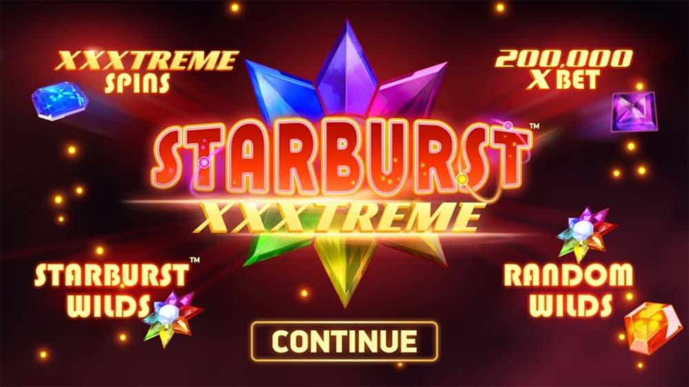 Starburst XXXtreme Slot - Intro Screen