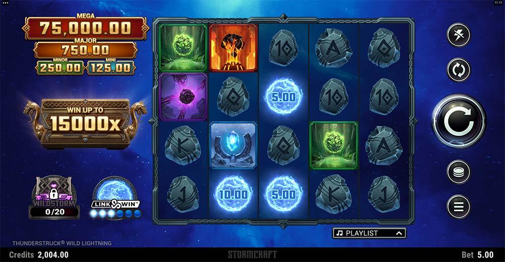 Thunderstruck Wild Lightning Slot - Base Gameplay