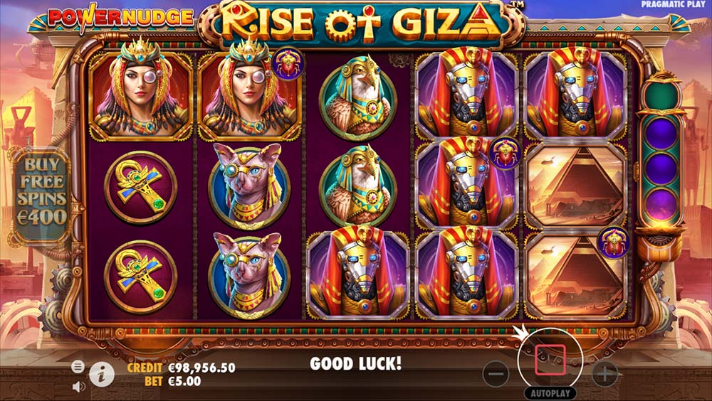 Rise of Giza PowerNudge Slot - 3 Scarabs Bonus Trigger