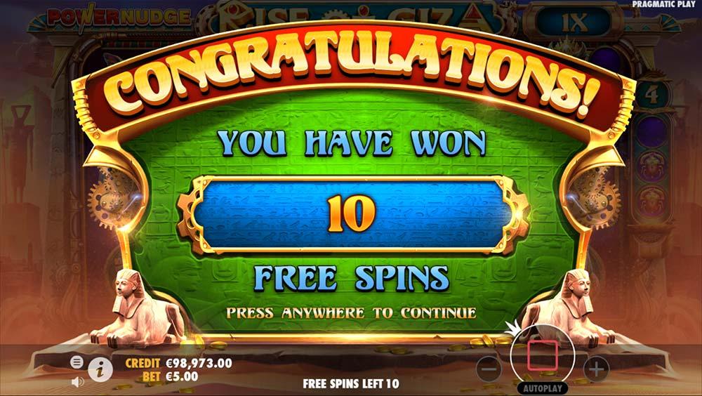 Rise of Giza PowerNudge Slot - Free Spins Start