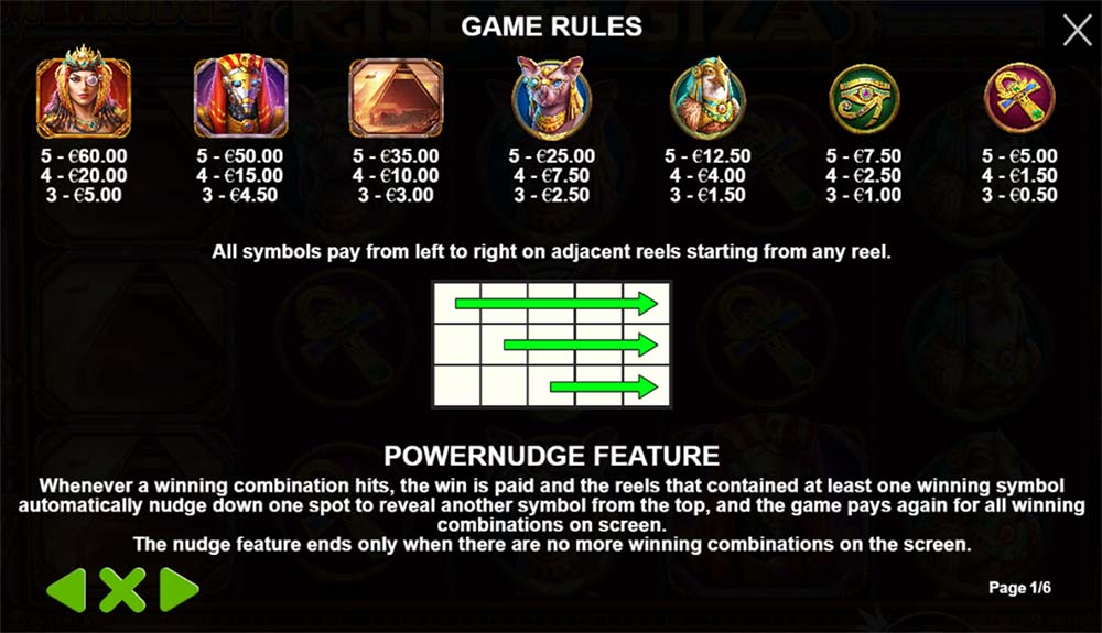 Rise of Giza PowerNudge Slot - Paytable