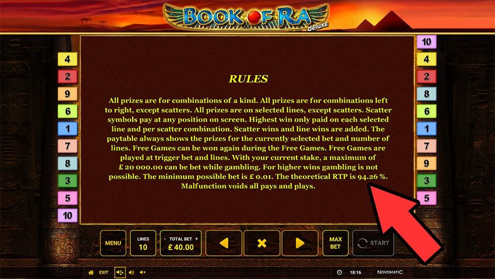 Book of Ra Slot - RTP Value