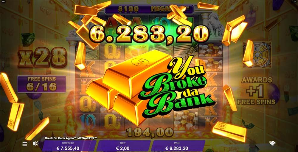 Break Da Bank Again Megaways Slot - Huge Win