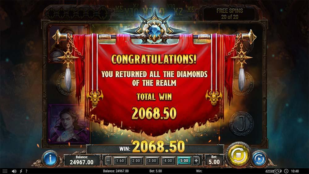 Diamonds of the Realm Slot - Bonus End Screen