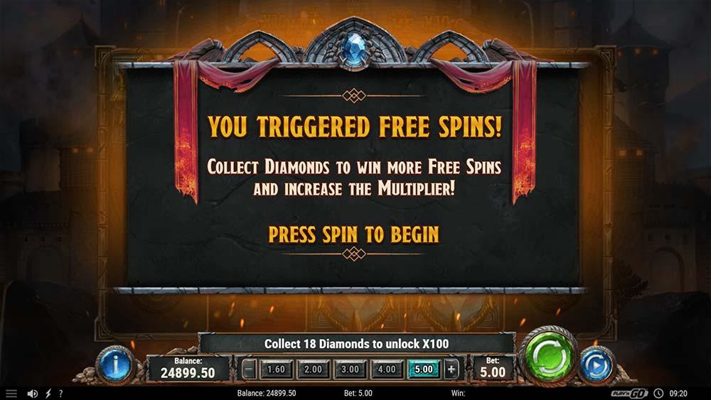 Diamonds of the Realm Slot - Bonus Start Screen