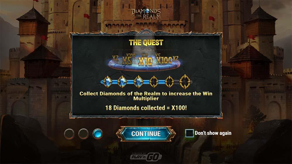 Diamonds of the Realm Slot - Intro Screen