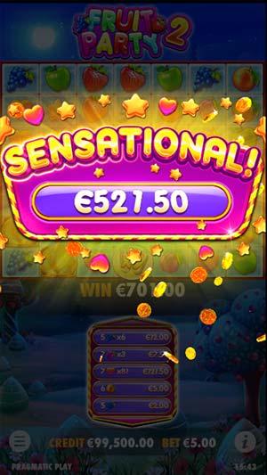 Fruit Party 2 Mobile Slot - Sensational Win