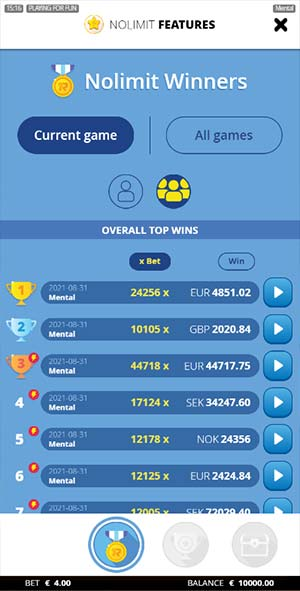 Mental Mobile Slot - Best Wins Leaderboard Replay Feature