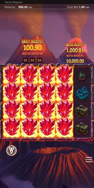 Mount Magmas Jackpots Mobile Slot - Stacked Symbols