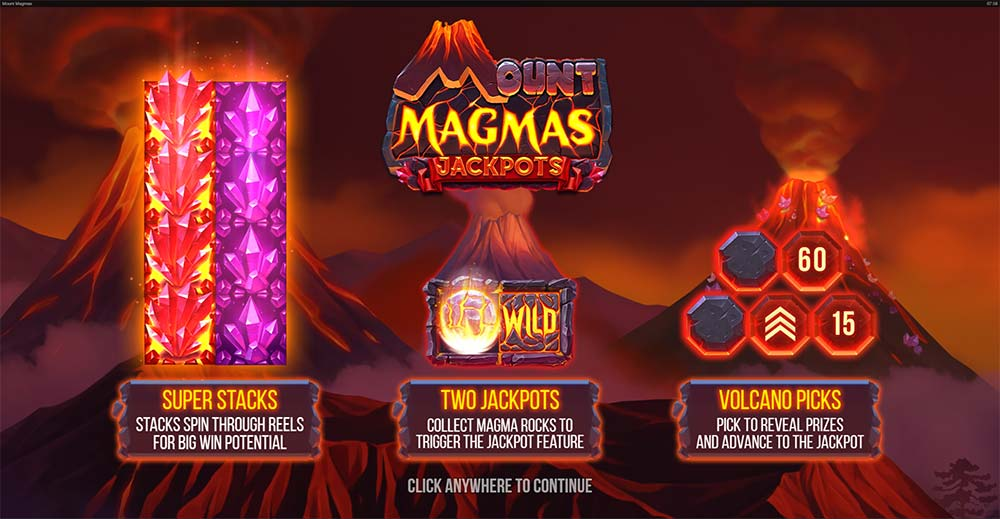 Mount Magmas Jackpots Slot - Intro Screen