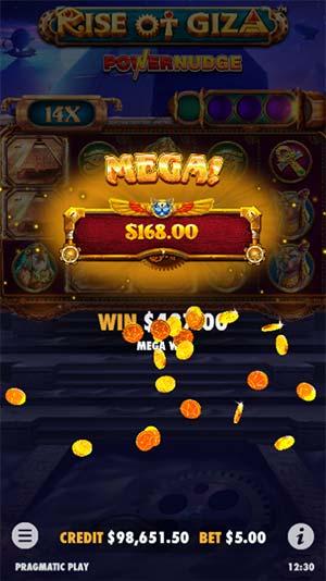 Rise of Giza PowerNudge Mobile Slot - Mega Win