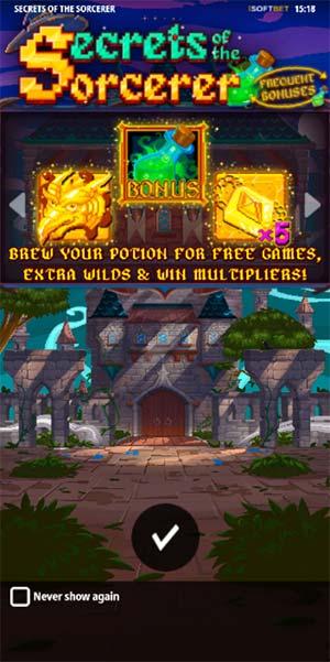Secrets of the Sorcerer Mobile Slot - Intro Screen