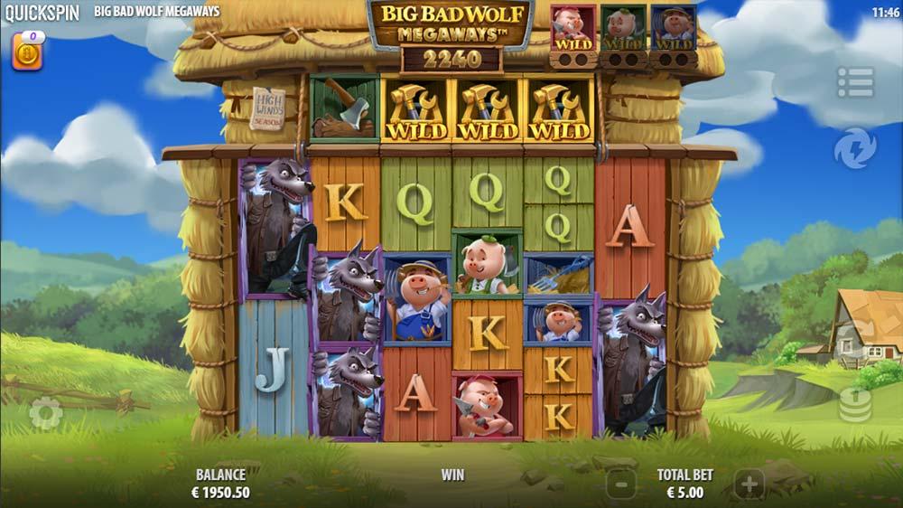 Big Bad Wolf Megaways Slot - Base Game High Paying Win