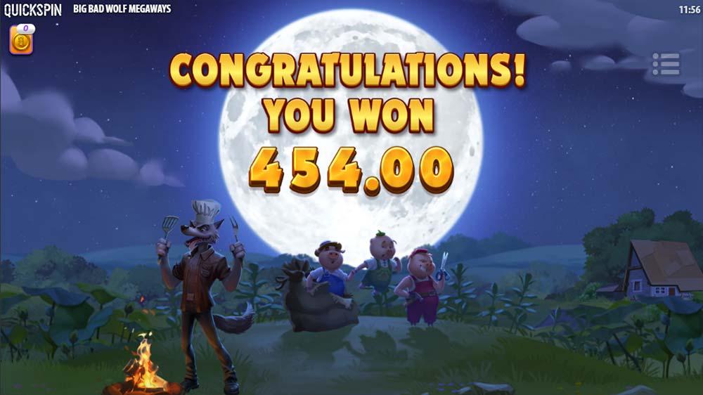 Big Bad Wolf Megaways Slot - Bonus End Screen