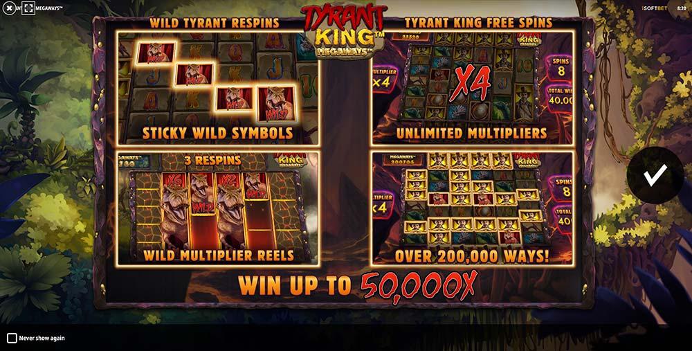 Tyrant King Megaways Slot - Intro Screen