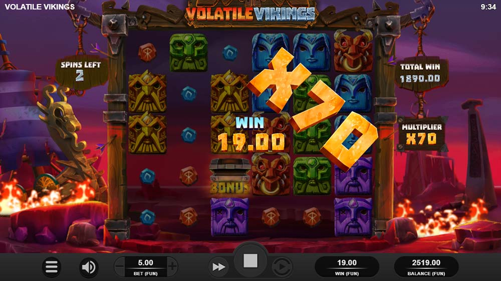 Volatile Vikings Slot - 70x Multiplier Applied to wins!