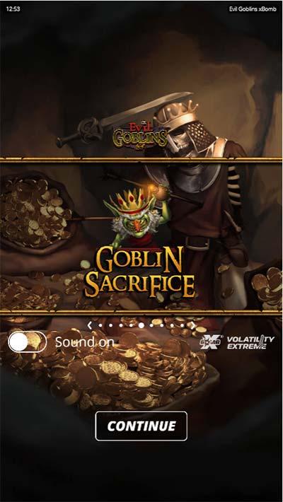 Evil Goblins Mobile Slot - Intro Screen