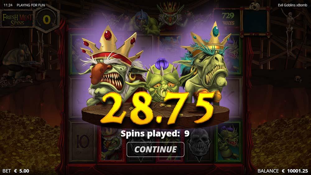 Evil Goblins Slot - Bad Bonus End Screen