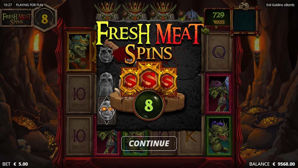 Evil Goblins Slot - Fresh Meat Spins Bonus Start