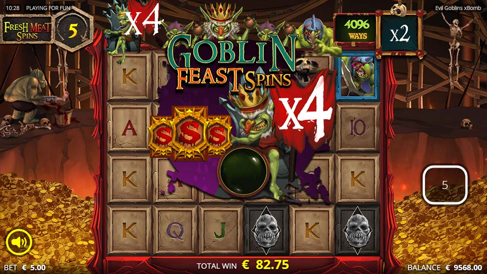 Evil Goblins Slot - Goblin Feast Spins Triggered