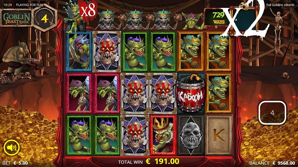 Evil Goblins Slot - Big Multipliers during Feast Spins