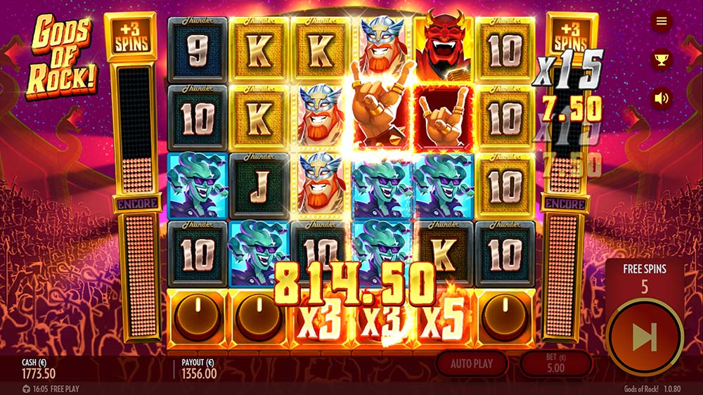 Gods of Rock Slot - Huge Win in Bonus