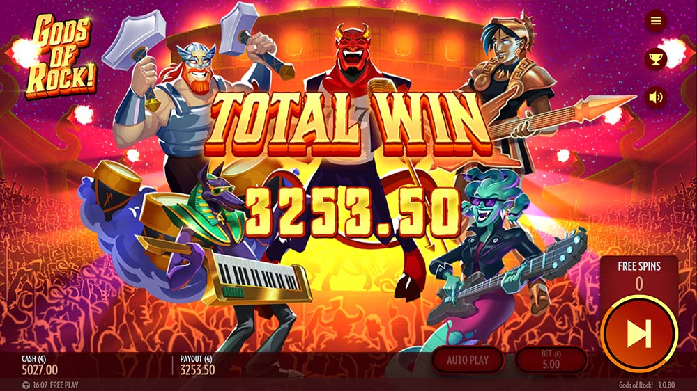 Gods of Rock Slot - Bonus End