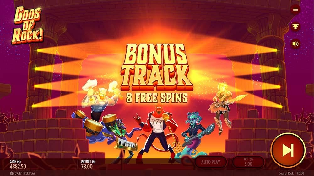 Gods of Rock Slot - Bonus Start Screen
