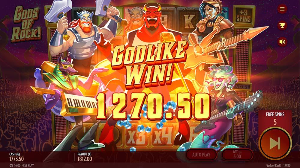 Gods of Rock Slot - Godlike Win